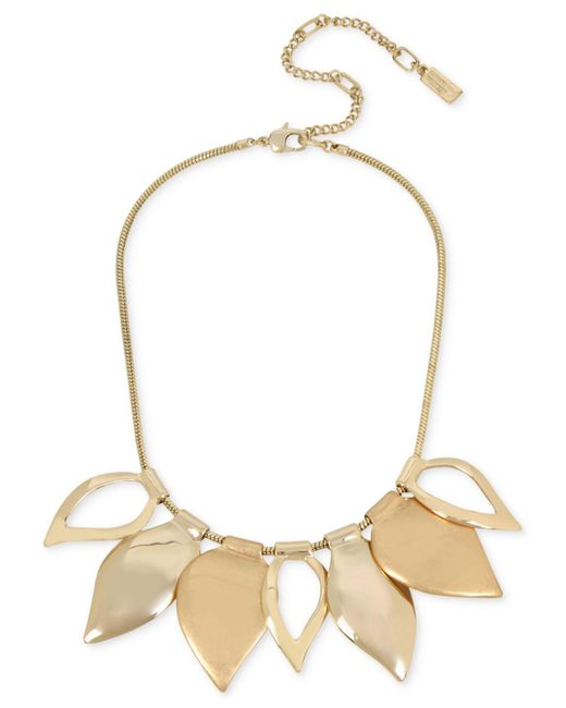 Kenneth Cole | Metallic Gold-tone Leaf Statement Necklace | Lyst