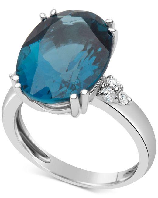 Macy's - Blue Topaz (12 Ct. T.w.) & Diamond (1/5 Ct. T.w.) Ring In 14k White Gold - Lyst