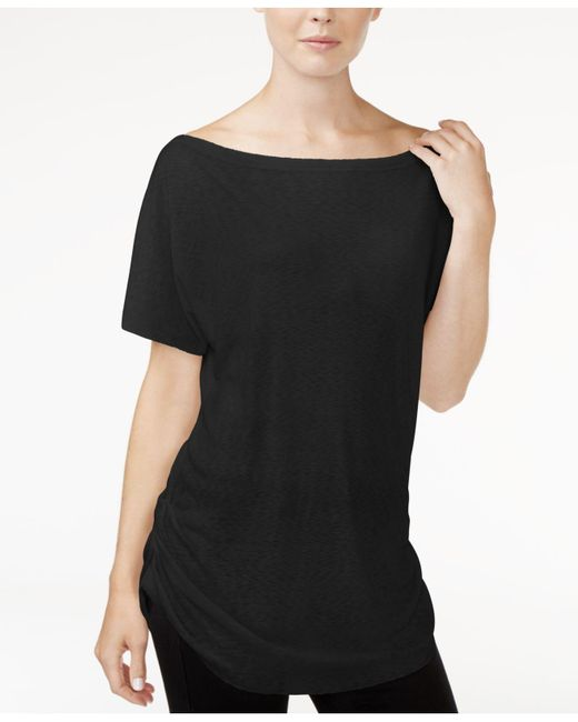 RACHEL Rachel Roy | Black Ruched Boat-neck T-shirt | Lyst