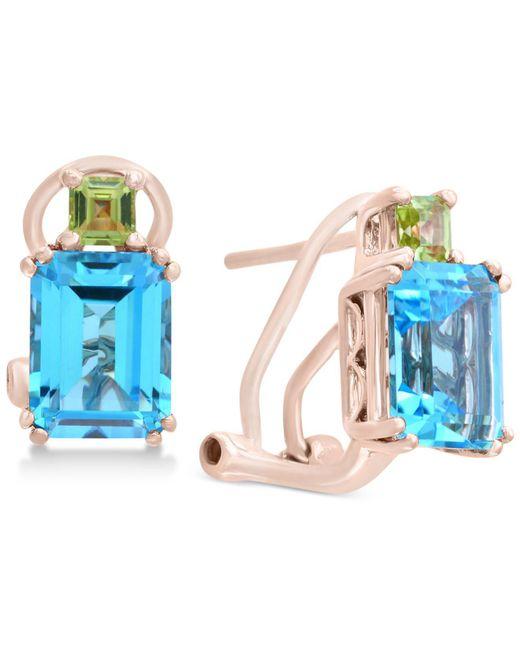 Effy Collection - Blue Topaz (3-9/10 Ct. T.w.) & Peridot (3/8 Ct. T.w.) Drop Earrings In 14k Rose Gold - Lyst