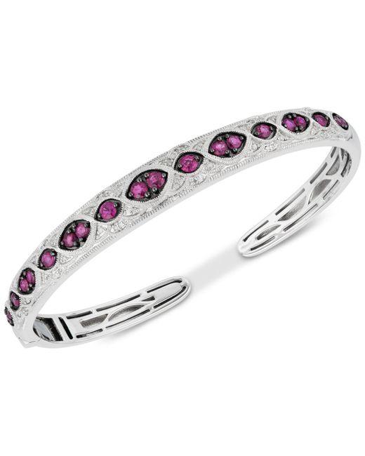 Macy's - Red Ruby (1-5/8 Ct. T.w.) & Diamond (1/6 Ct. T.w.) Bangle Bracelet In Sterling Silver - Lyst