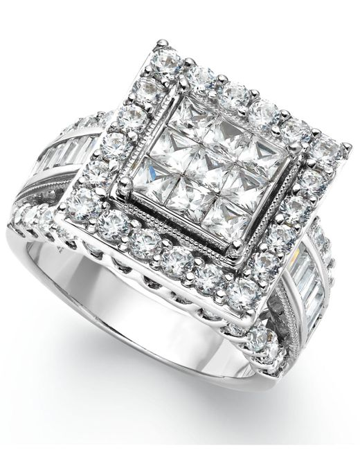 Macy's Diamond Square Engagement Ring In 14k White Gold (3