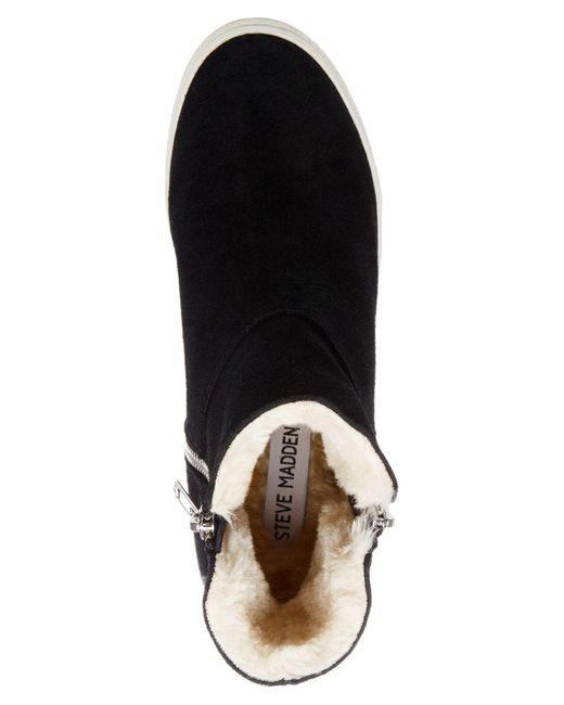81bddb76270 Lyst - Steve Madden Wanda Faux-fur Wedge Sneakers in Black - Save 54%