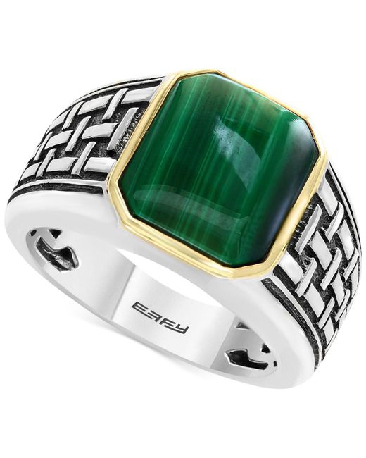 Effy Collection - Metallic Men's Malachite (13 X 11mm) Ring In Sterling Silver And 14k Gold - Lyst
