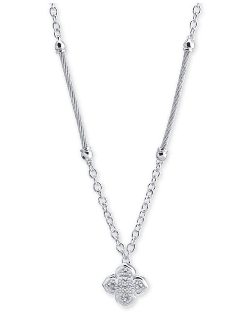 Charriol - Metallic Le Fleur Silver Necklace With White Topaz, Stainless Steel Cable (1.5mm), Silver Chain - Lyst