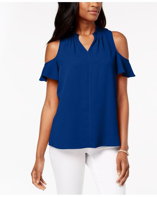 Charter Club - Blue Seamed Cold-shoulder Top, Created For Macy's - Lyst