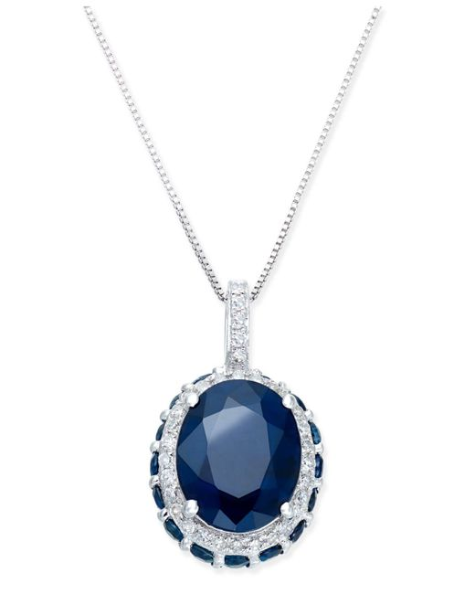 Macy's - Metallic Sapphire (3-9/10 Ct. T.w.) And White Sapphire (1/6 Ct. T.w.) Pendant Necklace In 10k White Gold - Lyst