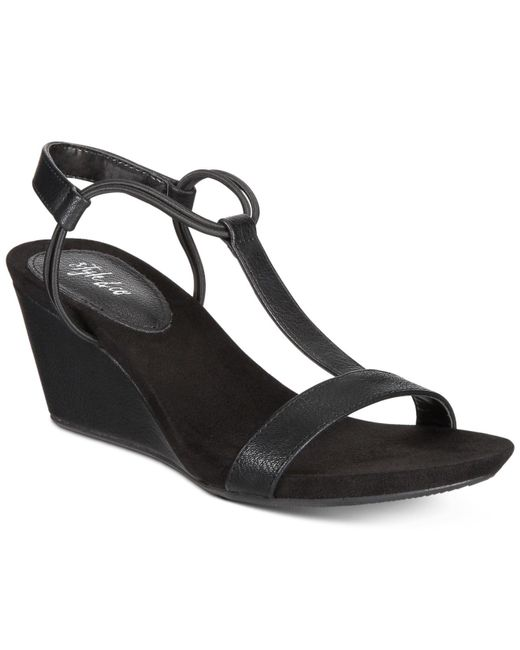 Style & Co. - Black Mulan Wedge Sandals - Lyst