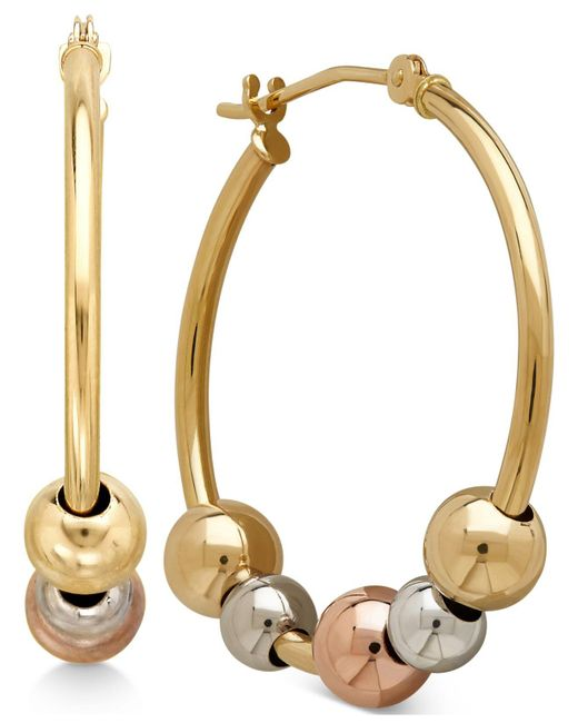Macy's - Multicolor Tri-tone Beaded Hoop Earrings In 10k Yellow, White And Rose Gold - Lyst