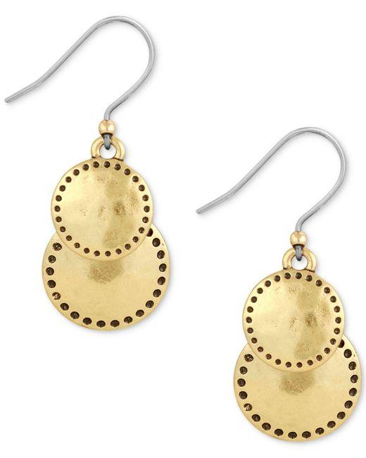 Lucky Brand - Metallic Silver-tone Double Drop Earrings - Lyst