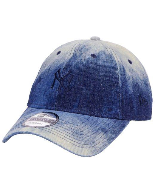 brand new cb43e e8774 ... denim wash out 9twenty cap lids 26da6 a796f  promo code for ktz blue  new york yankees washedout 9twenty cap for men lyst 85a1a 1fe0b