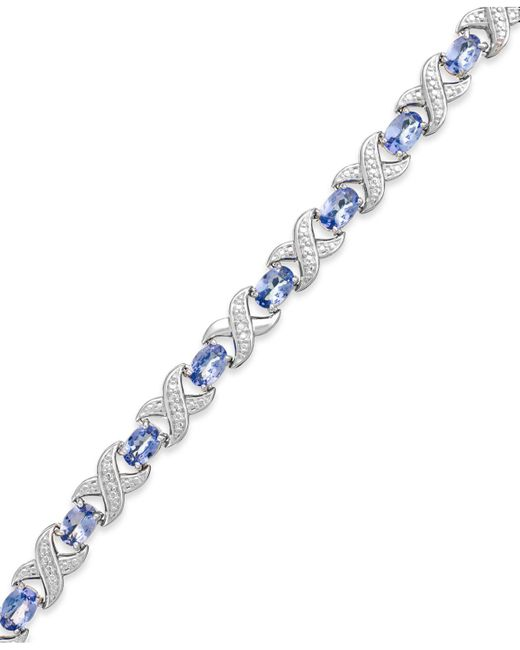 Macy's - Metallic Tanzanite (7 Ct. T.w.) And Diamond Accent Xo Bracelet In Sterling Silver - Lyst