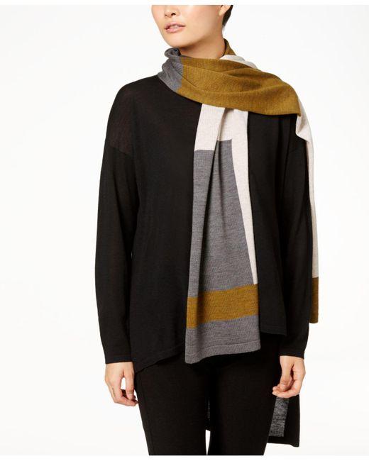 Eileen Fisher | Black Colorblocked Wool Scarf | Lyst