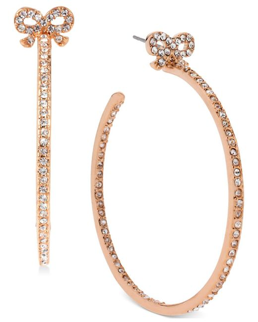 Betsey Johnson - Metallic Rose Gold-tone Crystal Bow Hoop Earrings - Lyst