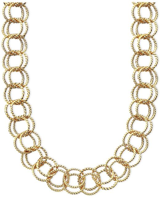 Betsey Johnson | Metallic Textured Round-link Necklace | Lyst