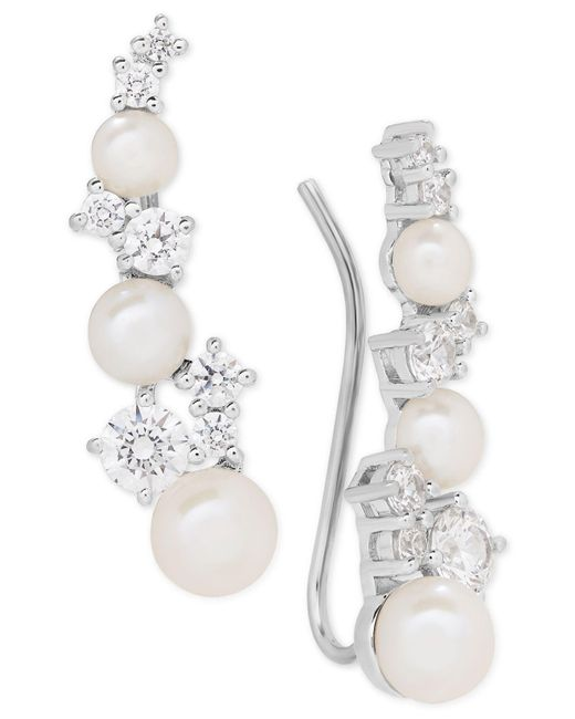 Arabella | Metallic Cultured Freshwater Pearl (3-1/2 - 5-1/2mm) & Swarovksi Zirconia Ear Climbers | Lyst