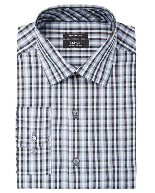 Alfani | Gray Men's Classic/regular Fit Performance Stretch Small Pixel Print Shirt, Created For Macy's for Men | Lyst