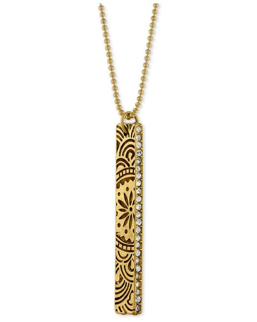 RACHEL Rachel Roy - Metallic Gold-tone Crystal Studded Decorative Bar Pendant Necklace - Lyst