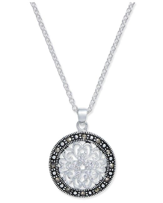 Macy's - White Marcasite & Crystal Flower Disc Pendant Necklace In Fine Silver-plate - Lyst
