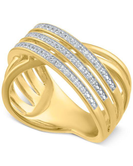 Macy's - Metallic Diamond Crisscross Statement Ring (1/4 Ct. T.w.) - Lyst