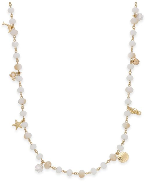 Charter Club | Metallic Gold-tone Sea Charm Beaded Long Necklace | Lyst