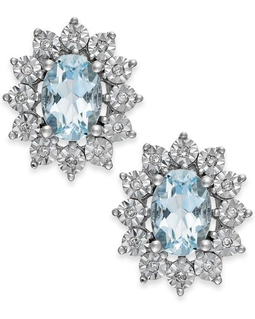 Macy's - Blue Aquamarine (1-1/3 Ct. T.w.) And Diamond Accent Stud Earrings In 14k White Gold - Lyst