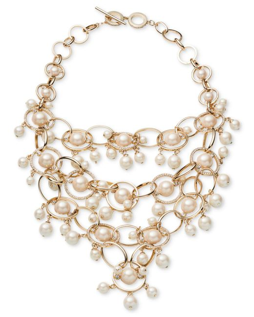 Carolee | White Gold-tone Imitation Pearl & Pavé Statement Necklace | Lyst