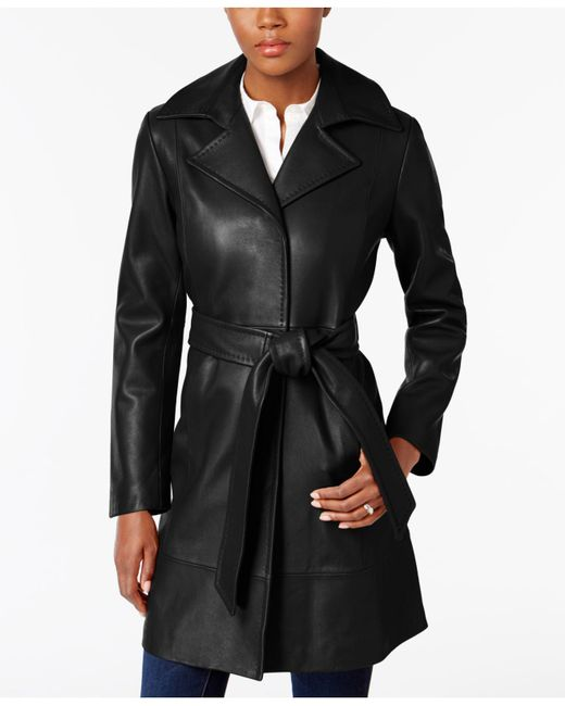 Jones New York - Black Leather Belted Trench Coat - Lyst
