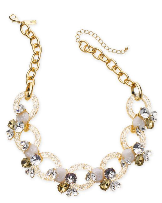 "INC International Concepts - White I.n.c. Gold-tone Crystal & Stone Link Statement Necklace, 19"" + 3"" Extender, Created For Macy's - Lyst"