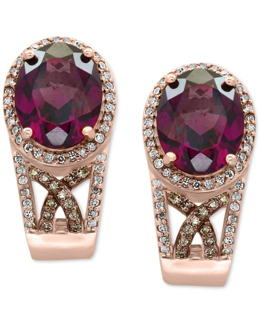 Effy Collection   Multicolor Rhodolite Garnet (4-1/2 Ct. T.w.) And Diamond (3/8 Ct. T.w.) Drop Earrings In 14k Rose Gold   Lyst