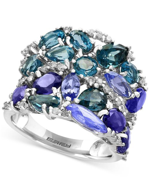 Effy Collection - Multicolor Blue Topaz (3-1/10 Ct. T.w.), Iolite (2-1/2 Ct. T.w.) And Tanzanite (2-1/10 Ct. T.w.) Ring In 14k White Gold - Lyst