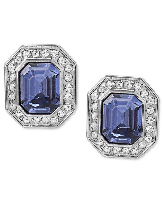 Carolee - Metallic Earrings, Silver-tone Emerald-cut Clip-on Earrings - Lyst