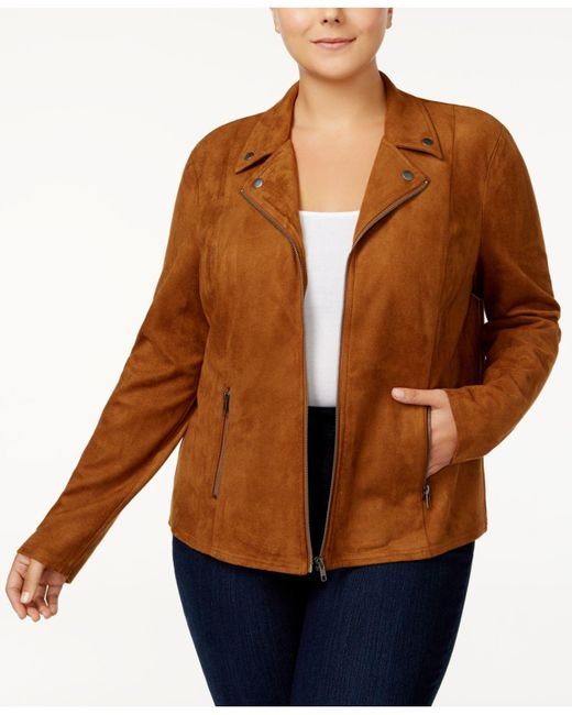 Style & Co. - Brown Plus Size Faux-suede Jacket, Created For Macy's - Lyst