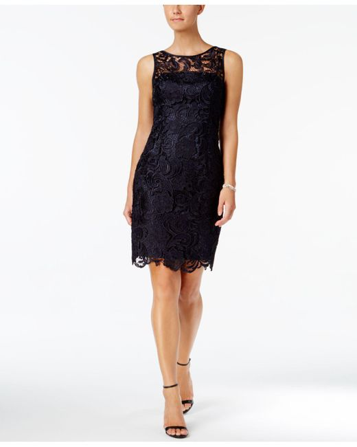 Adrianna Papell | Blue Dress, Sleeveless Lace Sheath | Lyst