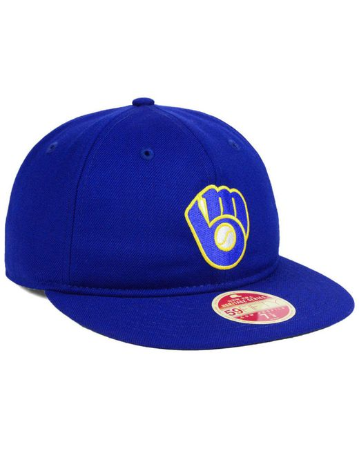 best service 6a92a c6b56 germany ktz blue milwaukee brewers heritage retro classic 59fifty fitted cap  for men lyst 5d9ab e9bdd