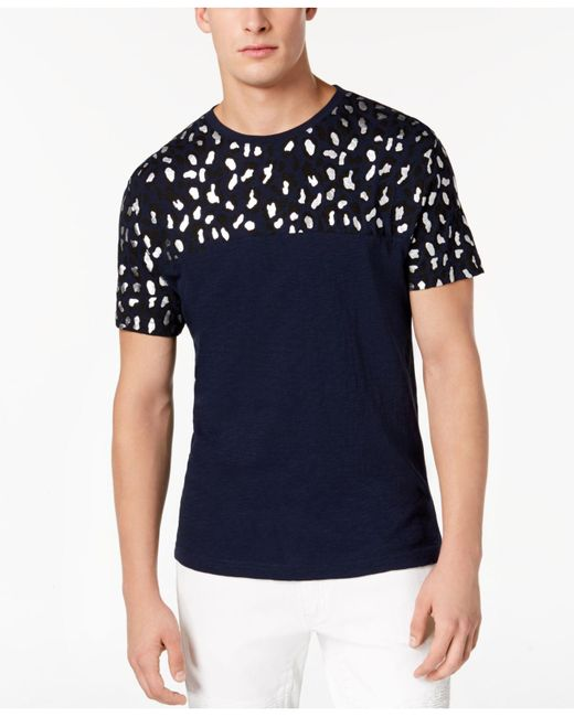 INC International Concepts - Blue Foil Leopard T-shirt, Created For Macy's for Men - Lyst