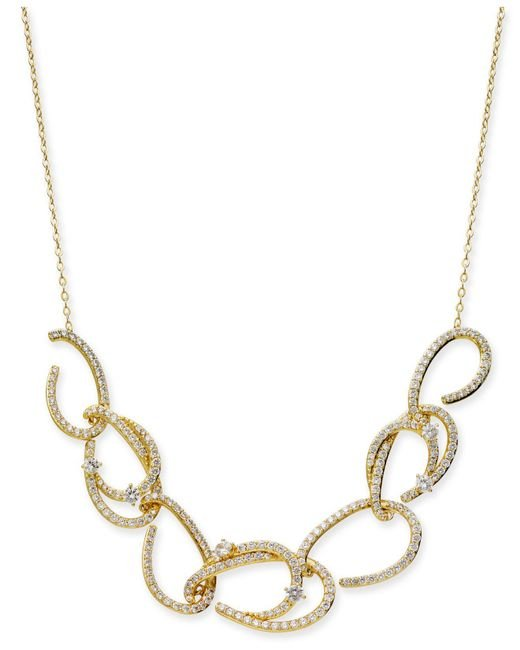 """Danori - Metallic Gold-tone Pavé Link Statement Necklace, 16"""" + 2"""" Extender, Created For Macy's - Lyst"""