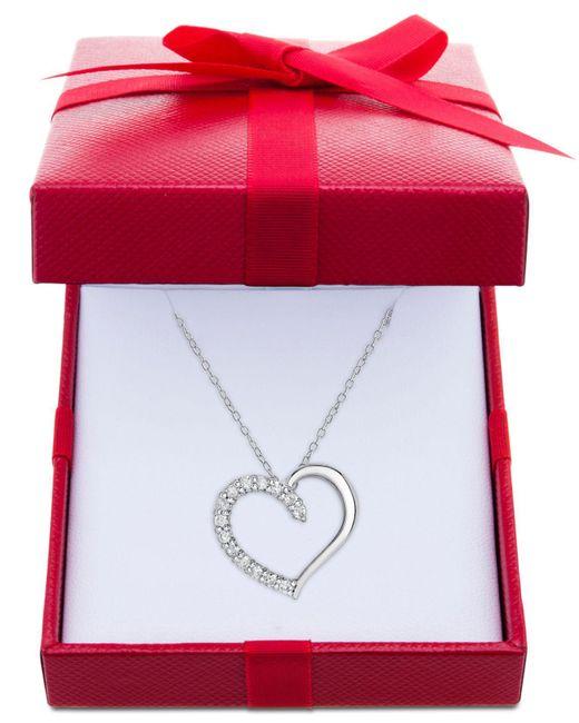 67630f138109a Macy's Diamond Heart Pendant Necklace (1/2 Ct. T.w.) In Sterling ...