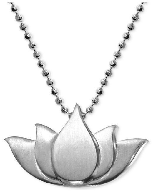 Alex Woo - Metallic Little Faith Lotus Blossom Pendant Necklace In Sterling Silver - Lyst