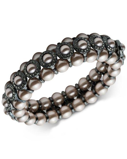 Carolee - Metallic Hematite-tone Imitation Pearl & Pavé Bangle Bracelet - Lyst