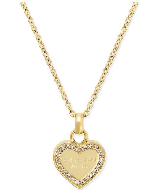 Michael Kors - Metallic Crystal Heart Pendant Necklace - Lyst
