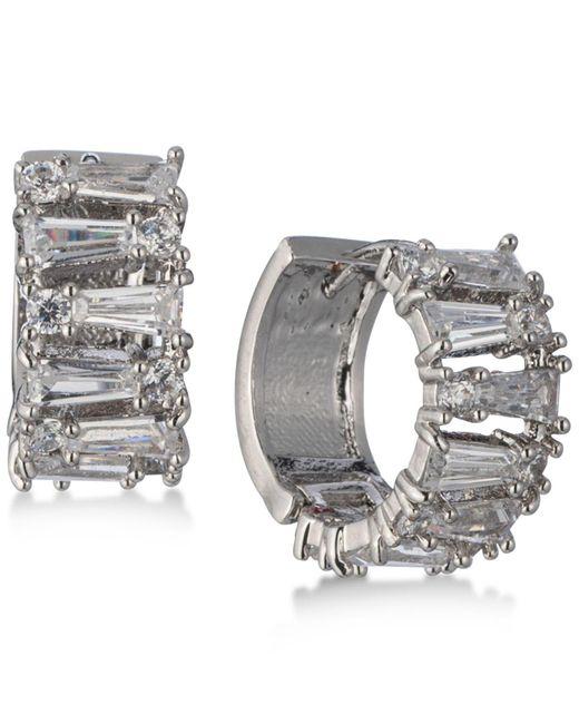 Carolee | Metallic Silver-tone Crystal Huggie Hoop Earrings | Lyst