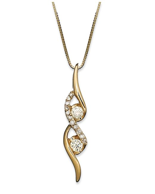 Sirena | Yellow Diamond Two-stone Spiral Pendant Necklace In 14k Gold Or White Gold (1/4 Ct. T.w.) | Lyst