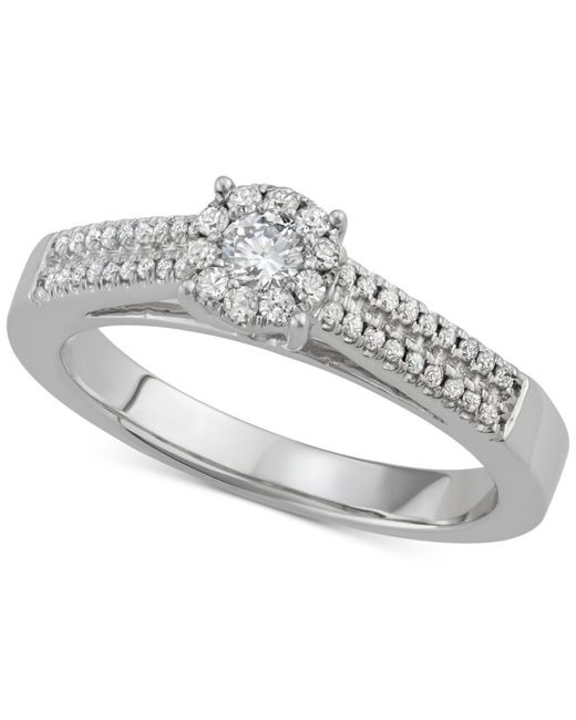 Macy's - Metallic Diamond Halo Engagement Ring (3/8 Ct. T.w.) In 14k White Gold - Lyst