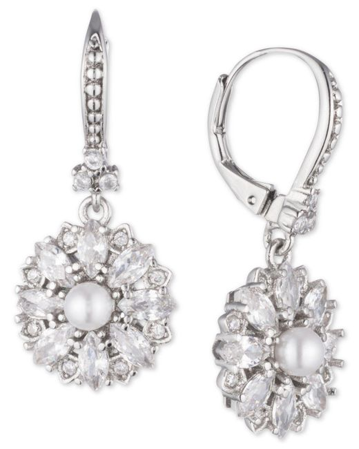 Marchesa - Metallic Silver-tone Crystal & Imitation Pearl Cluster Drop Earrings, Created For Macy's - Lyst