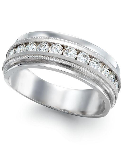 Macy's | Men's Diamond Milgrain Trim Ring In 14k White Gold (1 Ct. T.w.) for Men | Lyst