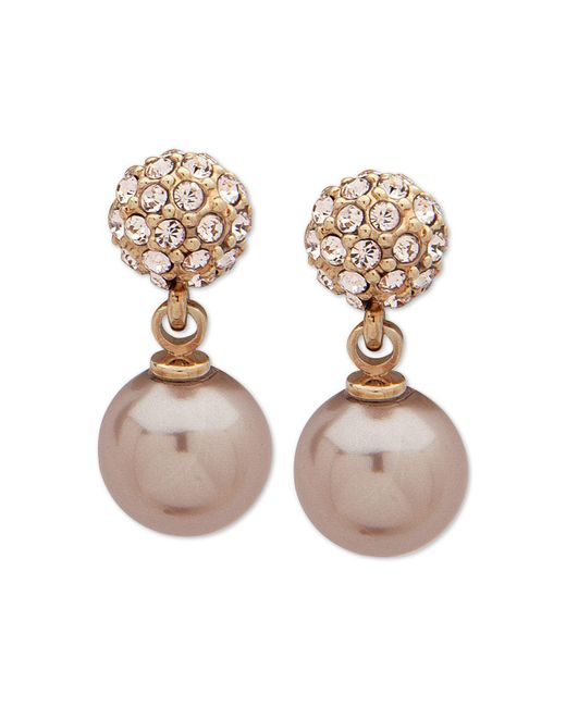 Givenchy - Metallic Gold-tone Pavé Fireball & Imitation Pearl Drop Earrings - Lyst