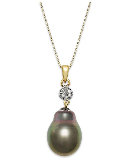 Macy's | Metallic Baroque Tahitian Pearl (12 Mm) And Diamond Accent Pendant Necklace In 14k Gold | Lyst