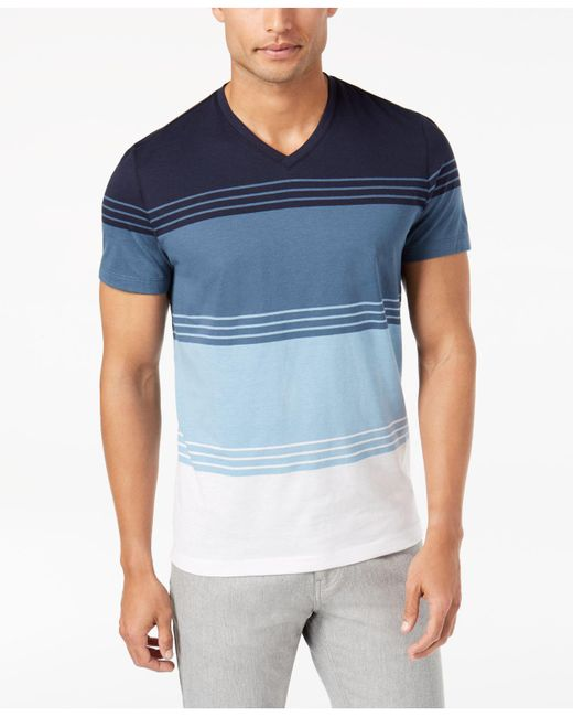 Alfani - Blue Men's Colorblocked Striped T-shirt for Men - Lyst