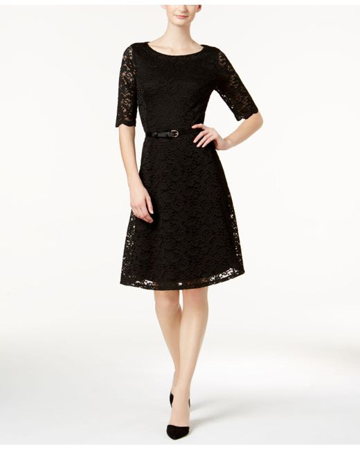 Charter Club | Black Belted Lace Fit & Flare Dress | Lyst